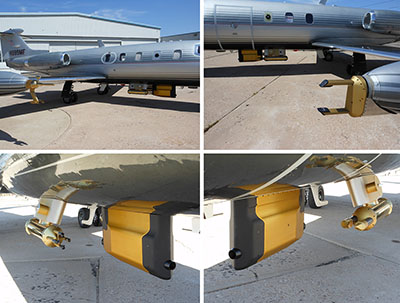 Photographs showing details of external sensors installed on the SPEC Learjet.
